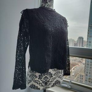 Zara Basic Lace Long sleeve Top in Black